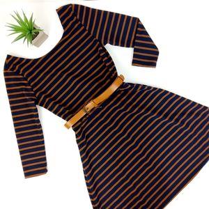 Lily Rose Navy Copper Stripe Dress Size Small